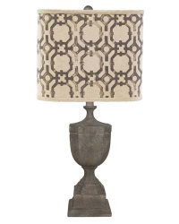 St Petersburg Light Grey Table Lamp, Iron Gate Square Shade