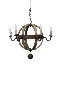 "Mendota Wood Ball Chandelier 30""d x 25""h"