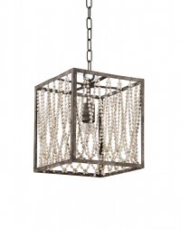 Bali Square Pendant Lamp with wood beads 14x14x9.5