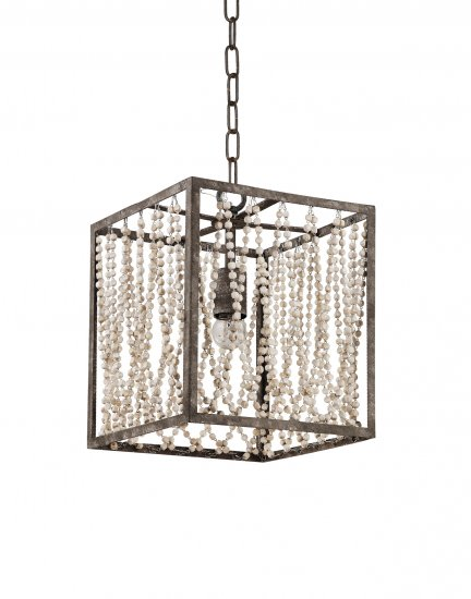 Bali Square Pendant Lamp With Wood Beads