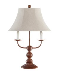 Bayfield Table Lamp Brown Tan Linen Shade