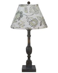 Harlan Dark Grey Table Lamp, Cottage Lily Greystone Shade