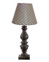 Bishop Black Table Lamp with Brown & Tan Shade