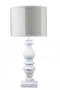 "Bishop White 31"" Table Lamp with Cabana Grey Shade"