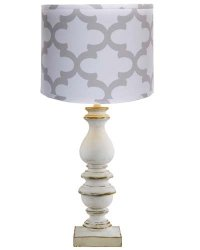 "Bishop White 31""Table Lamp with Fynn French White Shade"