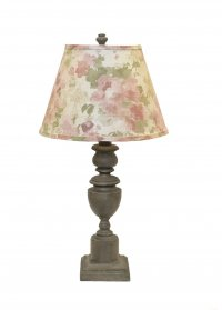 "Copen Grey 28"" Table Lamp with After Glow Floral Shade"