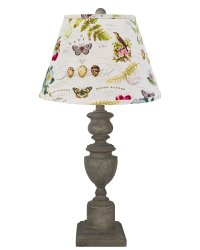 "Copen 28"" Lt Grey Table Lamp w/Flora & Fauna Shade"