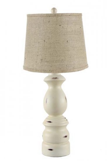 Keuka distressed ivory table lamp with burlap shade l2361div u1 keuka distressed ivory table lamp with burlap shade larger image aloadofball Images