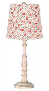 "Townsend Distressed Ivory, Red Farm Animals 21"" Table Lamp"