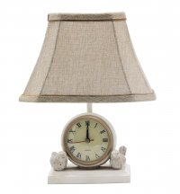 Spring Forward Antique White Lamp with Clock