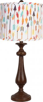 "Lexington Brown 26.5"" Table Lamp w/Quills & Arrows Shade"