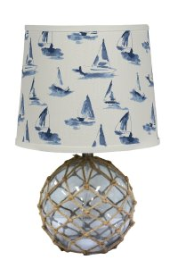 "Fishermans Friend 20"" Table Lamp with Small Sail Boats Shade"
