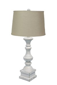 "Austin Antique White 26.5"" Table Lamp, Jefferson Linen Shade"