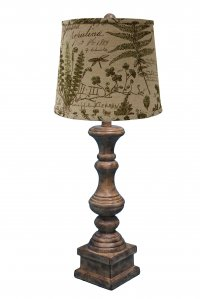 "Austin 29"" Table Lamp Brown, Woodlands Cedar Moss Shade"