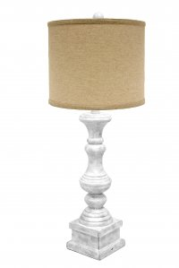 "Austin 29"" Table Lamp Antique White, Jefferson Linen Shade"