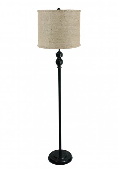 Bridgeport Black 60 Floor Lamp With Natural Burlap Shade L2814bk U1