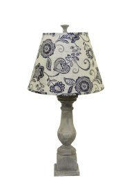 "Rhone Washed Wood Finish 31"" Table Lamp, Cottage Lily Blue Shade"