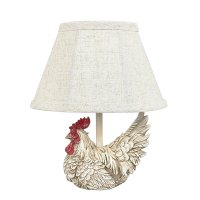 "Mini White12"" Rooster Accent Lamp"