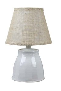 "Cambridge Ceramic-Ivory 21"" Table Lamp Burlap Shade"