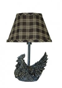 Mini Black Rooster Accent Lamp with Plaid Shade