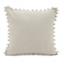 Chambray Pom Pom Pillow Taupe 18x18