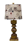 Dakota Brown Table Lamp with Wine Label Shade