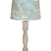 "Gables Washed Wood Finish 30"" Table Lamp Sail Away Shade"