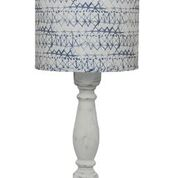 "Hudson White 40"" Table Lamp with Blue/White Shade"