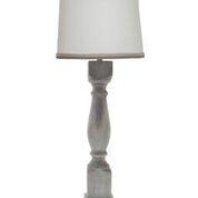 "Hudson Washed Wood Finish 40"" Table Lamp, Wht Linen/Gry Trim"