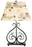 Deux Scrolls Accent Lamp with Wine Label