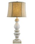 Bishop White Table Lamp with Tan Linen Shade