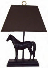 Run For The Roses Horse Table Lamp with Brown Herringbone Shade