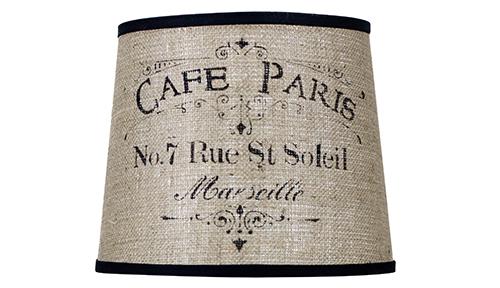 Amazing Stencil Lamp Shade ? Cafe Paris On Burlap Larger Image